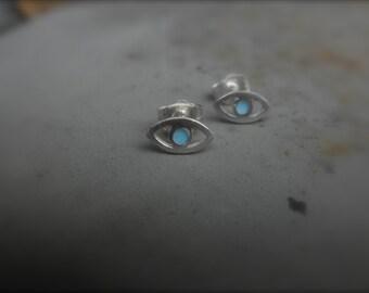 Enamel evil eye stud earrings