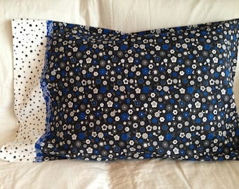 pillowcase in black, white and a touch of royal blue