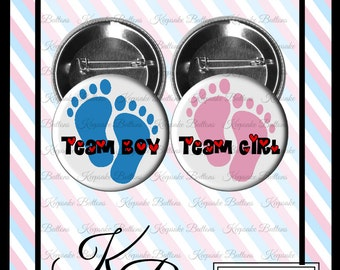 """2.25"""" Team Boy - Team Girl, Gender Reveal Buttons, Baby Shower Gender Reveal Pins, Pin Back Button, Baby Keepsake Buttons, Party Pins"""