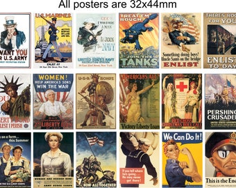 world war posters in miniature. One pack of 18 x woodcuts