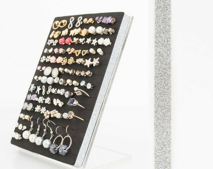 Stud Earring Holder - Silver Glitter Ribbon- Earring Organizer- Leave Backs On.