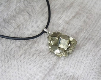 Necklace pyrite (Cat gold)-eyelet 925 silver-unique-gift-