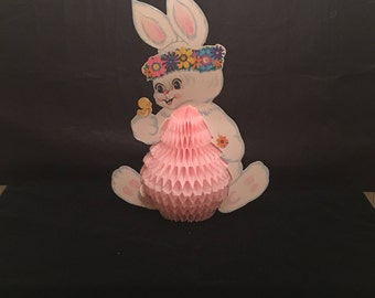 Vintage 1980's Beistle Die Cut Honeycomb Easter Bunny Decoration