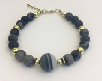 Black Agate Grey Marble Bracelet