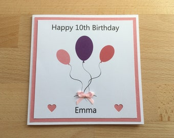 Balloons Card Girl, Girls Birthday Card, Personalised Card, Birthday Card, Kids Birthday Cards, Birthday Card Girl, Girly Card, Age 10 Card