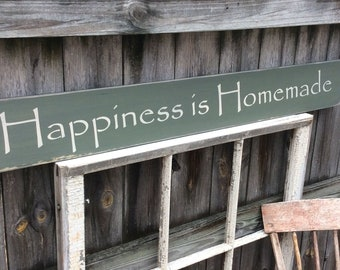 """S347Handmade, Wood, Long Sign with saying. """"Happiness is Homemade""""  Antiqued, warm."""