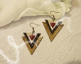 Lovely bronze tone leather triangular Stud Earrings
