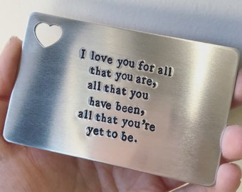 Personalized Wallet Insert - Hand Stamped Aluminum with Heart Cutout - Customized with Any Saying - Anniversary, Father's Day, Wedding Gift