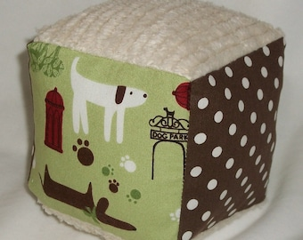 Cute Puppies and Chenille Boutique Block Rattle