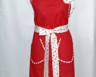 Valentine Red Apron, Christmas Apron, Fancy Ladies Party Apron, Custom Personalize With Name, No Shipping Fee, Ready To Ship TODAY, AGFT 502