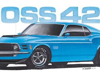 1970 Ford Mustang Boss 429 12x24 inch Art Print by Jim Gerdom