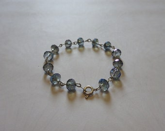 Small Irridescent Blue Lilac Beaded Crystal Bracelet