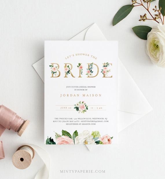 Boho Bridal Shower Invitation Template, INSTANT DOWNLOAD, 100% Editable Text, Printable Floral Bridal Shower Invite, Templett #043-153BS