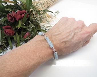 Aquamarine Bracelet, Sky Blue Gemstone Bracelet In Sterling, Aquamarine And Swarovski Jewelry, 6.5-8 Inches Length, Aquamarine Jewelry