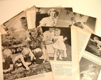 Clip Art, Baby And Children,Vintage Book Pages