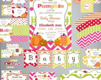 Pretty Little Pumpkin BABY Shower Set-DIY Printable-Instant Download-Editable-Print At Home-Party Supplies