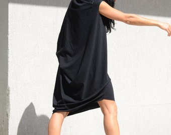Asymmetric dress, oversize dress, black dress, loose dress, extravagant dress, black elegant dress, mid knee dress for plus size women