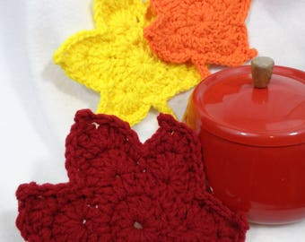 Crochet Fall Leaf Trivets, Colorful Leaves, Kitchen Decor, Gift for Teacher, Housewarming Gift, Autumn Leaf Hot Pads Table Decor by Charlene