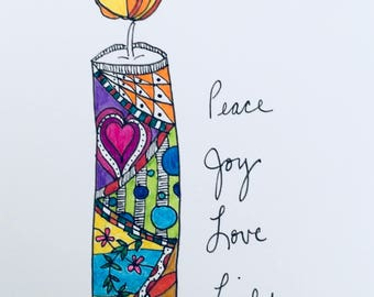 Peace Joy Love Light Solstice Christmas or Holiday Greeting Card Set
