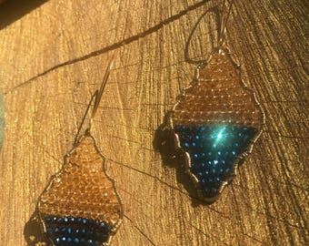 Chandelier, Blue Iridescent, Gold, Micro Crystal, Earrings, Gypsy, Bohemian, Luxe