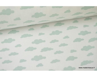 Fabric 100% cotton mint on white clouds design