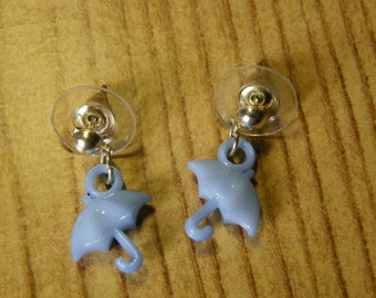 Dangle Light Blue Umbrella Stud Earrings  #1180