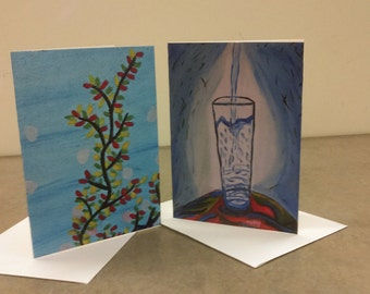 The Flower of the Sea and The Pouring  of Water: Greeting cards, Sympathy cards Free Shipping