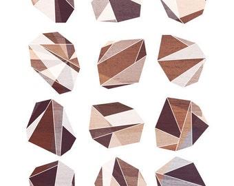 Soft Rock (Geometric Facet) Art Print, 5x7 8x10 11x14