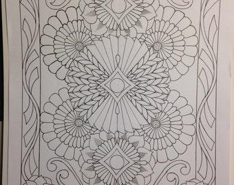 Botanical Flower Ornamental #6, Hand Drawn Original Art, Decorative Design, Digital, PDF, Adult Coloring Page - Instant Download