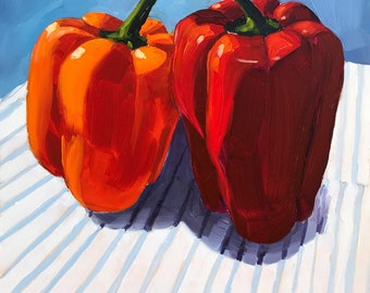 Still life painting- A Red Hot Romance - 8x8  Bell Pepper Oil Painting by Sharon Schock