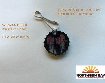 Handmade blue punk IPA beer bottle cap keyring