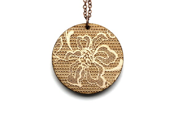 Round pendant with floral lace pattern - romantic necklace - graphic jewelry - wedding jewellery - lasercut maple wood - statement necklace