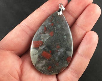 Stunning Natural African Bloodstone Pendant Necklace Jewelry