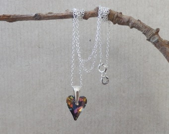 Sterling Silver 925 pendant with rainbow heart Swarovski crystal