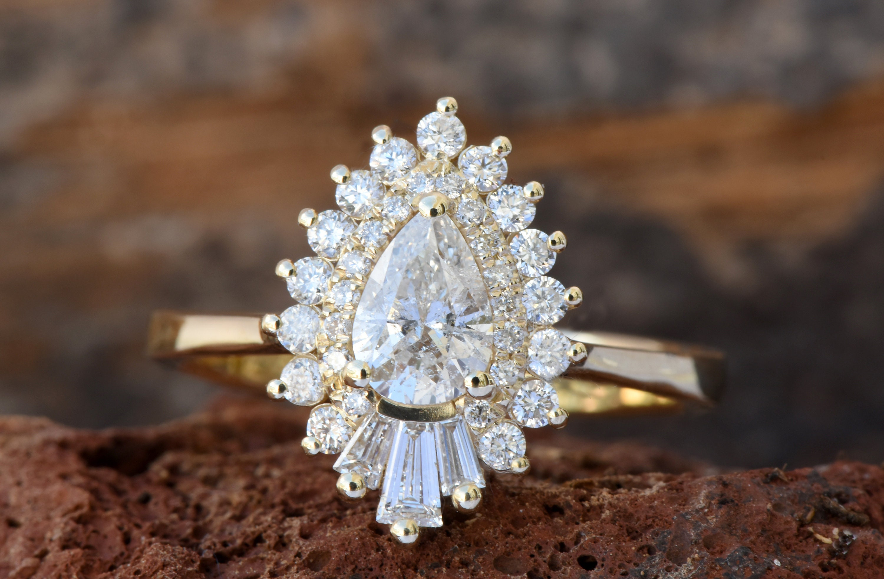 engagement carat the vee emily b all wedding in stunner yellow ring pear triplett paired set shaped textured with r diamond gold solitaire jewelry