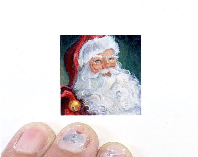 Print of miniature watercolor painting of Santa face.  giclee print of close up Santa