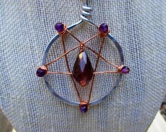 Inverted Pentagram Necklace, Amethyst Pentagram, Occult Necklace, Goth Amethyst Necklace, Game of Thrones Inspired Necklace, GOT Jewelry