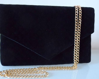 Black Velvet Quilted Clutch Bag with Chain Strap-textile/velvet/evening/purse/shoulder strap/present