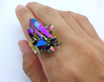 Crystal Ring, Titanium Druzy Quartz Ring, Aura Quartz Ring, Rainbow Quartz Ring, Healing Crystals