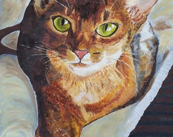 Red Abysinnian Cat, Oil Painting