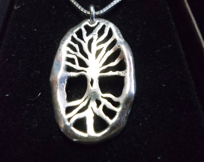 Melted medium size tree of life w/roots necklace w/sterling silver chain