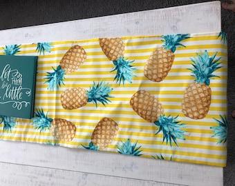 Yellow stripe aqua pineapple table runner