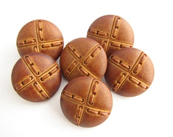 6 leather like buttons, 20 mm shank buttons in brown colour, unused!!