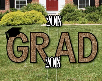 GRAD - Graduation Yard Sign - Outdoor Lawn Graduation Decorations - 2018 GRAD Graduation Yard Signs - Tassel Worth The Hassle - Gold