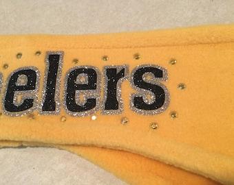 Rhinestone Steelers Glitter Sparkle Fleece Headband Earwarmer