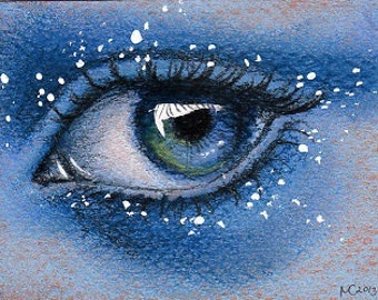 Original ACEO eye drawing 'The Bilberry'
