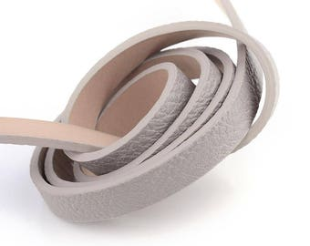 1.15 m lace mouse flat 10mm grey leather strap