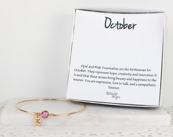 Personalized October Birthstone Gold Bangle Bracelet, Personalized Gold Bracelet, Tourmaline Bangle, October Birthstone Bracelet