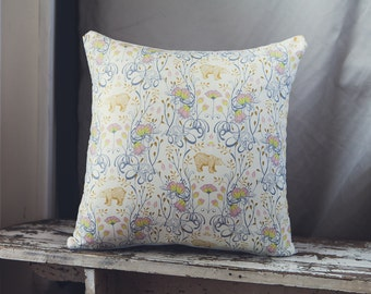Nursery Cushion/Pillow Cover in Brush Bear in Ivory by Sarah Watts with a light blue denim backing