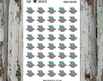 Shark Week Planner Stickers - Cute Period Tracker